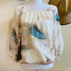 ALICE + OLIVIA sheer sleeve silk blouse top shirt